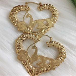 18 K Gold Filled Heart nameplate Hoop Earrings